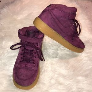 NIKE AIR FORCE 1 HIGH TOP PURPLE SUEDE WB GS 2.5
